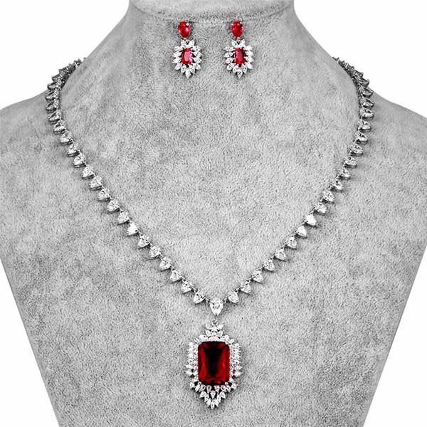 HONGHONG Cubic zirconia 3 Unids Conjunto de aretes de collar de mujer Conjuntos de joyería nupcial 3 colores Ladylike Zircon Chic Jewelries