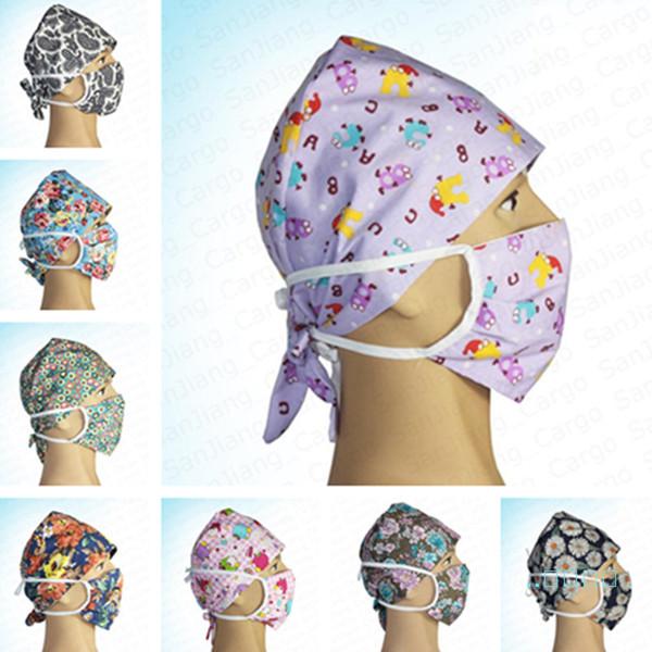 Floral Flower Nurse Cap Doctor Hat and Face Mask 2 Piece Set Washable Floral Cartoon Protective Cotton Masks Unisex Nursing Headwear E41403
