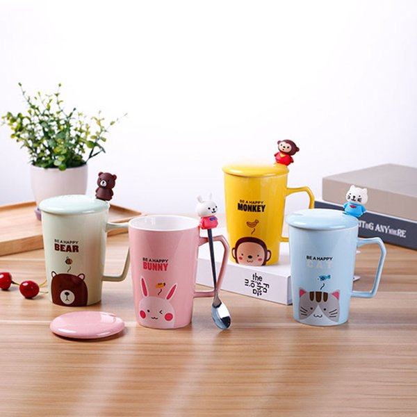 Tasse de glaçure colorée de gobelets en céramique de bande dessinée avec un couvercle et une cuillère Tasses de café mignonnes pour le bureau et les étudiants 8 5yja1
