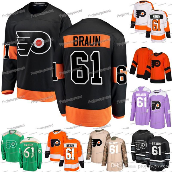 # 61 Justin Braun Jersey Philadelphia Folhetos Kevin Hayes Carter Sean Couturier Claude Giroux Jakub Voracek Camisolas de Gostisbehere Shayne