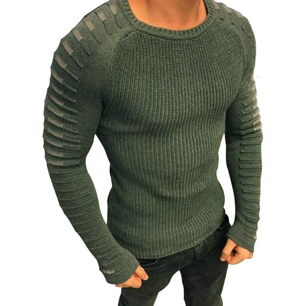 Pull Hommes 2019 Nouveau Arrivée Casual Pull Hommes Ronde Automne Cou Patchwork Qualité Marque Tricoté Homme Sweaters Taille M-3XL MX191214