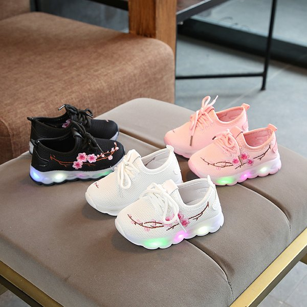 new 2020 european led lighted baby casual shoes solid patchwork girls boys shoes glitter cool baby sneakers