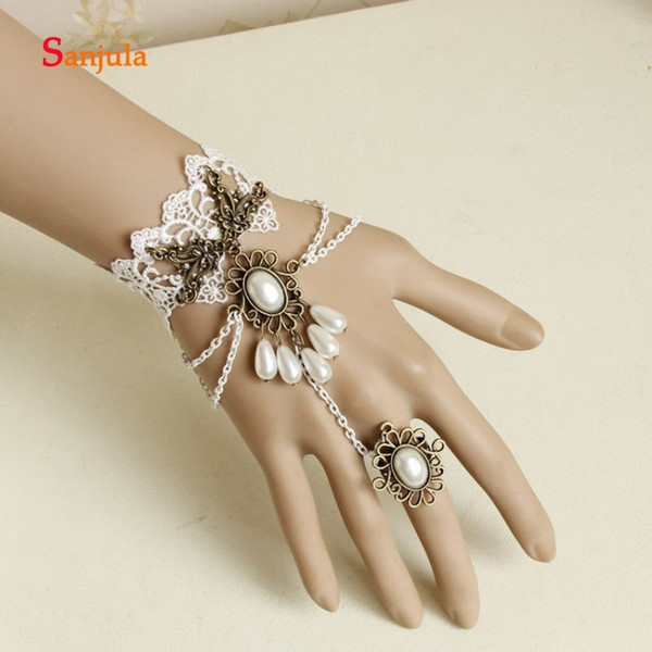 Perlas hechas a mano con forma de gota de agua Guantes de boda Anillo de encaje blanco Pulsera Guantes de novia Accesorios de vestido gótico Lolita