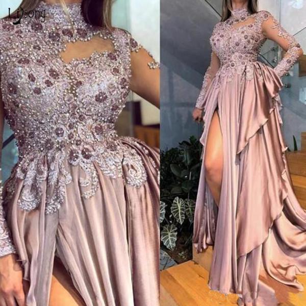 Arabe Aso Ebi manches longues perles Appliques Robes de bal 2020 Sexy col montant Dusty Rose en mousseline de soie formelle Parti Robes de soirée robe de bal
