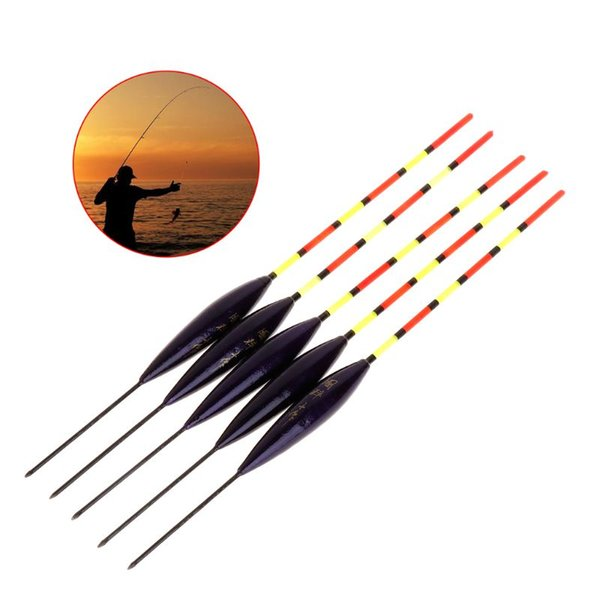 5 Pcs/Set Fishing Float Buoy Barr Wood Fluorescent Tail Stick Floating Wooden Tackle Ice Fishing Carp Luminous Accessories
