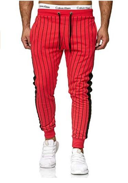 New Men's Trousers Autumn Cotton Striped Track Pants Fashion Slim Joggers Pants For Men Casual splice Hip hop