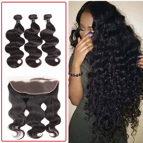 Пучки волос с прямыми прямыми бразильскими перуанскими индийскими девственницами Пучки волос с фронтальным закрытием 13x4 Тело Глубокая вода Волна странный вьющийся