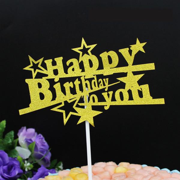 1 stück DIY Gold Lila Stern Brief Alles Gute Zum Geburtstag Kuchen Eis Cupcake Topper Picks Junge Mädchen Kindergeburtstag Party Dessert Decor
