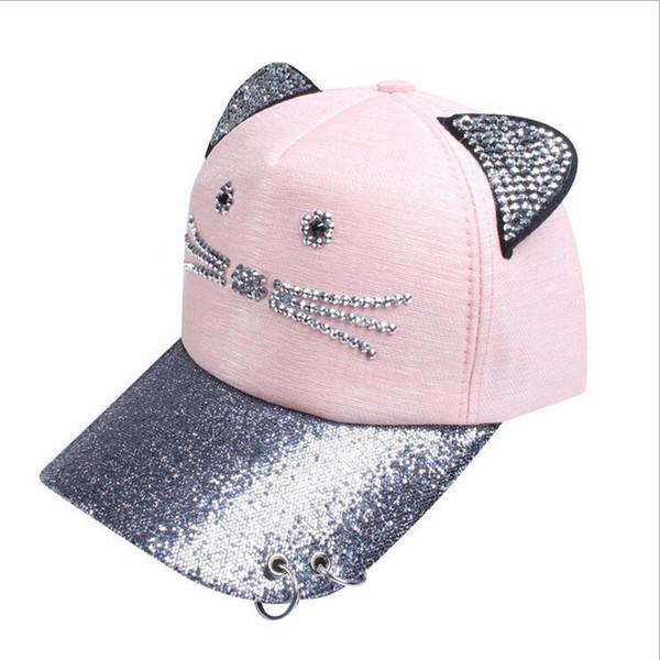 Seioum Snapback Sevimli Kedi Kulaklar Pembe Beyzbol Şapkası kadın şapka Yeni Güzel kedi Ayarlanabilir Güneşten Caps Rahat Drake Bones Unisex