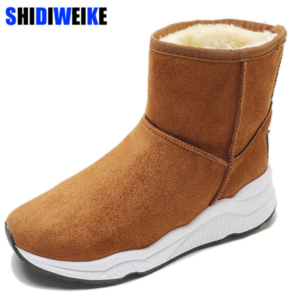 Snow Boots for Women Shoes 2019 New Wedge Rubber Anti-slip Sole High Quality Winter Boots Waterproof Bottom Cotton Shoes n460