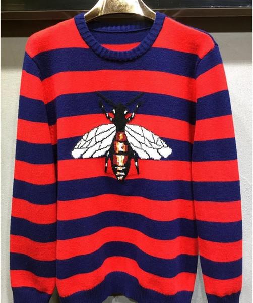 Invierno diseñador de la marca abeja plaid bordado suéter jersey para hombres mujeres outwear ropa o cuello