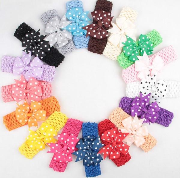 Elastic Band Headband Baby Polka Dots Bows WITH Clip Kids Hairpin Hair Accessories YH623 2019 Ribbon Bow