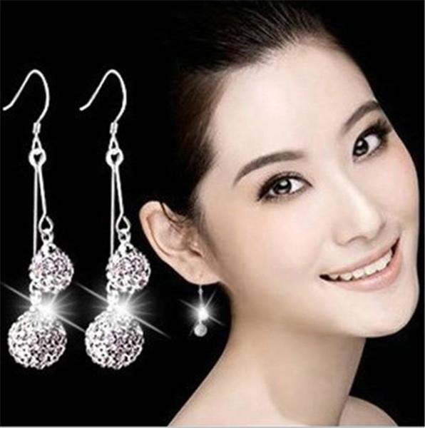 Temperament Silver Earrings Dangle Chandelier Drop Shaped Ear Pendant Brides Diamond Earrings Shiny Ball Earrings Graduation Giving A Friend