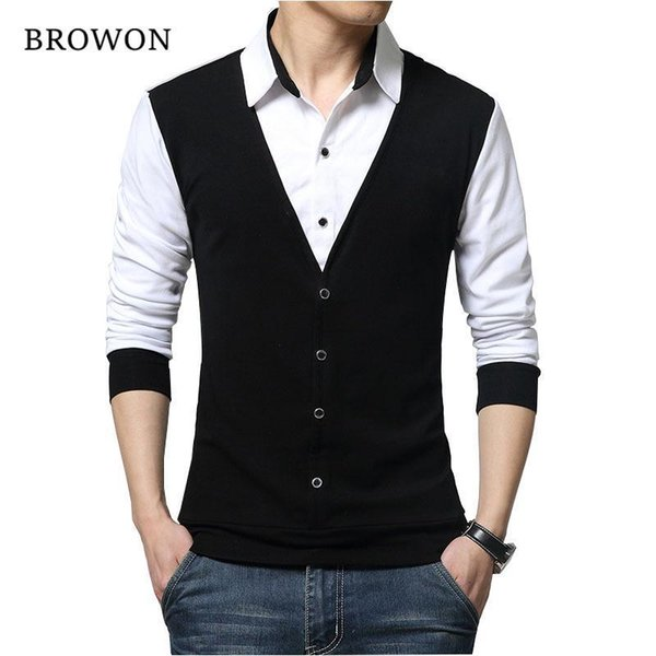 Browon Brand Autumn Mens T Shirts Fashion Nice Fake Two Designer Clothing Cool T-shirt Men Long Sleeve T Shirt Casual Male
