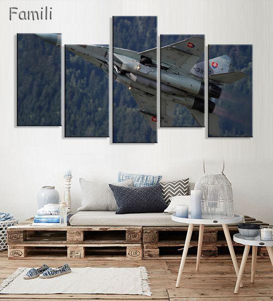 67f13fbcd1 5 Unids   set Modernos Aviones de Combate Impresos Pintura de la Lona de  Combate Aviones de Pared Imagen de Arte Para la Sala Sin Marco