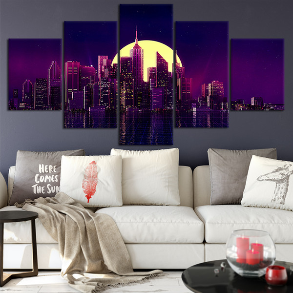 Canvas Posters Home Decor Wall Art Framework 5 Pieces New York Night Paintings For Living Room HD Prints Modern Pictures