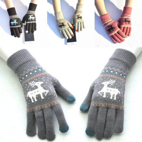 Freies DHL 2019 6 Art-nette Elch-Rotwild-gestrickte Handschuhe voller Finger-Winter-Handschuhe stricken starke Bildschirm- Handschuhe Frauen Männer Weihnachtsgeschenk H918Q F