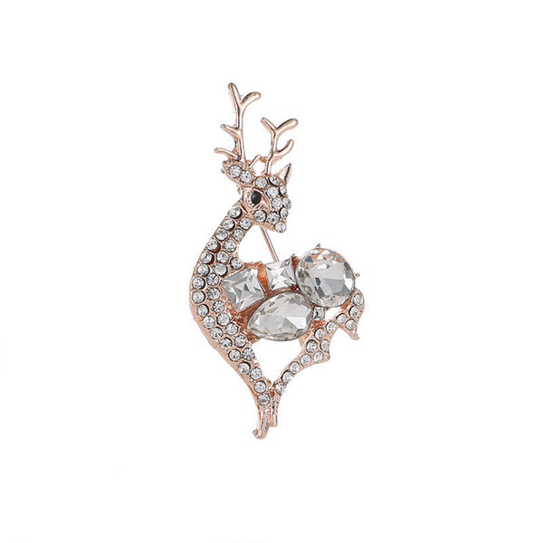 Vintage Rose Gold Silver Metal Elk Brooches Pin Lucky Animal Garment Fashion Men Women Jewelry Scarf Accessory Gift New arrival