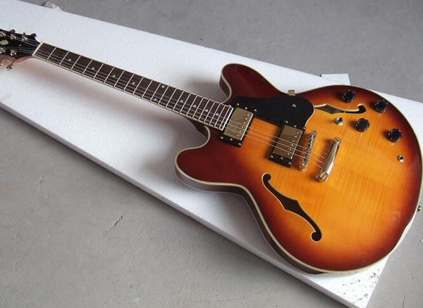 Factory Cheap Custom Sunburst Maple Flame TOP Semi Hollow Body Double F-holes Jazz Electric Guitar Good Quality Guitars