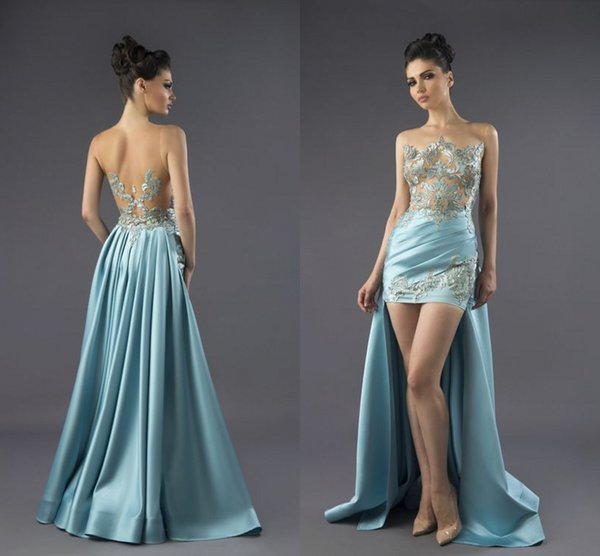 New Arrival Elegant Sexy Sky Blue Evening Gowns High Low Prom Gowns Sleeveless Short Party Dresses Plus Size abaya vestidos de fiesta