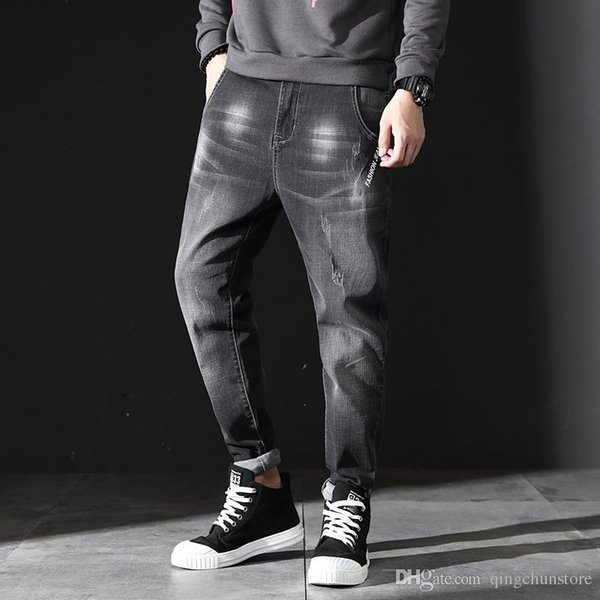 2018 New men's jeans trend design casual denim trousers washed Harlan jeans men's stretch jeans men's cotton joggers pants