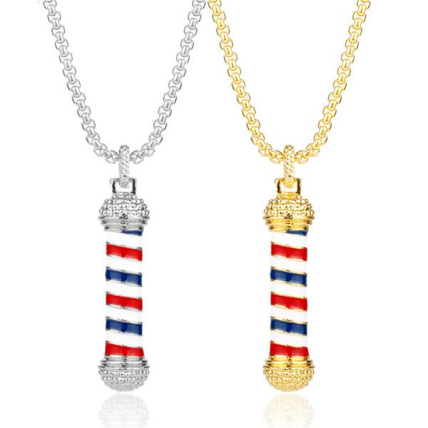 Mode charme bijoux Barber Shop Turn-lumière outil Argent zinc alliage d'or plaqué unisexe strass Collier long pendentif