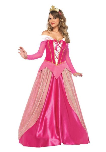 Adult Aurora Costume Deluxe Sleeping Beauty Princess Aurora Gorgeous costume Halloween Carnival Cosplay Pink Princess Long Dress