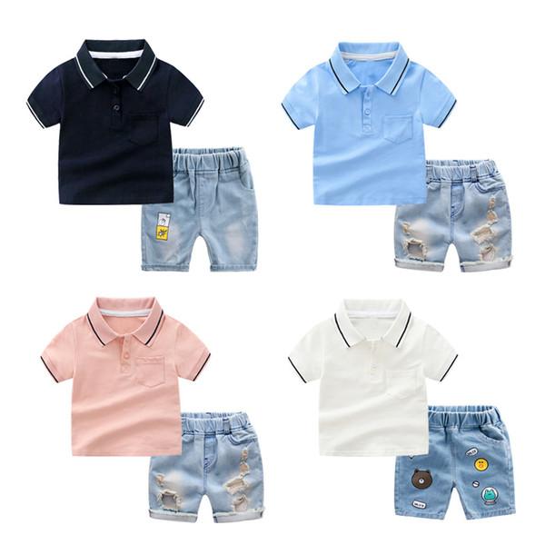 Pantaloncini in cotone casual per bambini estate Pantalone per bambini collo alto + jeans in due pezzi Ragazzi e ragazze 6 disegni