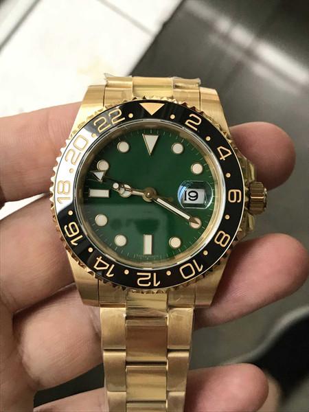 Reloj de lujo GM Factory Full PVD Gold Swiss 2836 GMT Función Movimiento Cerámica Bisel Dial verde 40mm Reloj automático para hombre