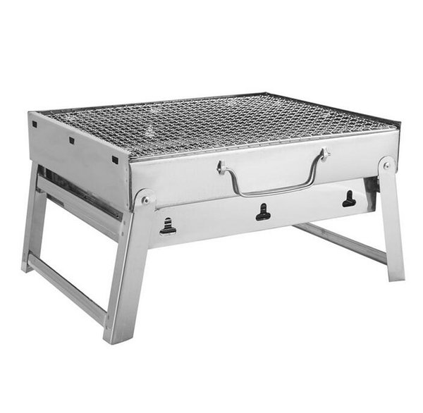 Free shipping 35*27*20cm Picnic BBQ Charcoal Grills for Barbecue & Sliver Outdoor Stainless steel Hiking Charcoal Camping Grill