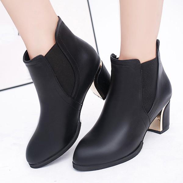 Оригинальные кожаные сапоги женщин Женская обувь на каблуках 2019 Остроконечные Туфли на высоких каблуках Мода Упругие дамы загрузки Женщина Кожа