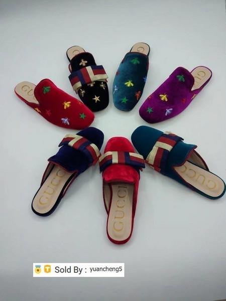 Fita Carta yuancheng5 Top Quality Bow Buckle Plano sapatos de veludo Couro Moda Mulher bordados Abelha Estrelas chinelos Casual Box
