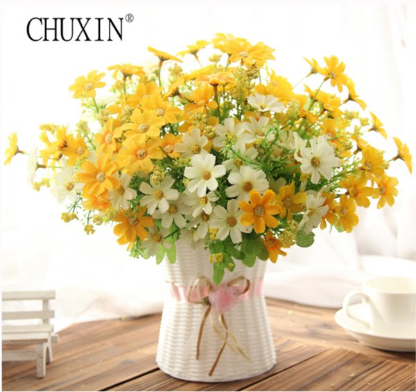 One set Samll daisy artificial flower silk sunflower with rattan vase decoration for home room table 13 Type