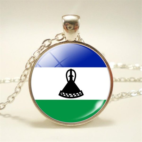 Lesotho National Flag World Time Gem Glass Cabochon Charm Necklaces Pendant Female Male Handmade Silver Long Link Chain Chocker Jewelry Gift