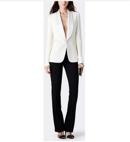 Chaqueta blanca + Pantalones Trajes de negocios para mujeres Diseños de uniformes de oficina Mujeres Elegantes para mujer Traje Traje de 2 piezas Conjuntos personalizados