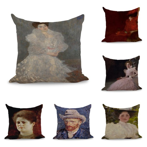 Lady Portrait Painting Throw Massager Pillow Case Decorative Pillows Warm Home Decor Vintage Gift