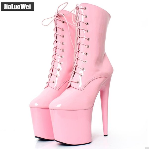 Free Shipping 20CM Extreme High Heels Women Platform Short Boots Pink Lace up Pole Dancing Shoes Man Ankle Boots Side Zip Plus Size