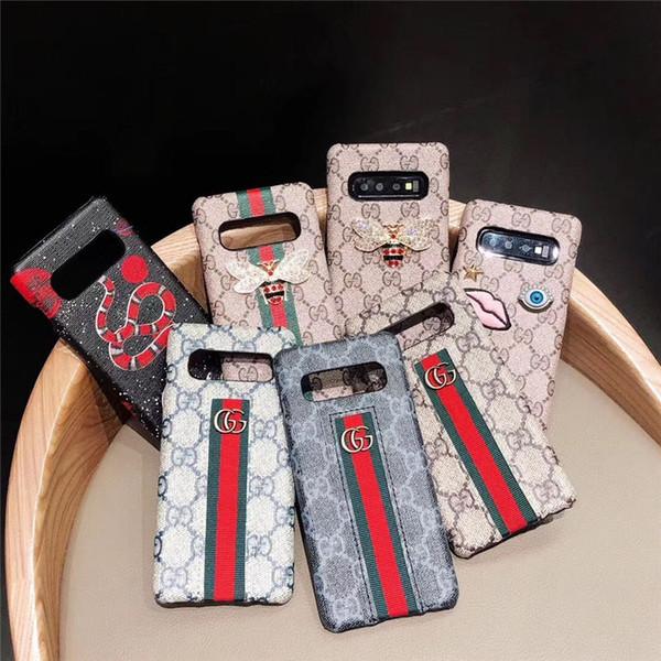 Para iphone xr xs max 6 7 8 x além de luxo de cobra de abelha celular case leatehr bordado casos de telefone para galaxy s10 s10p s8 s9 além de nota8 9