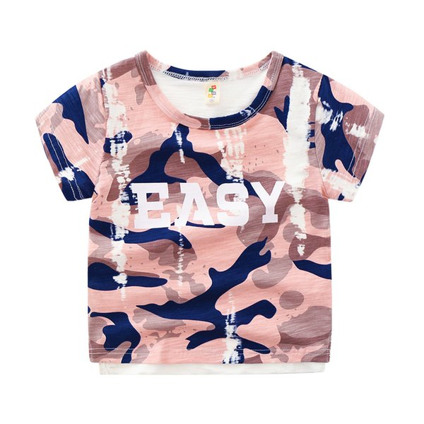 Cotton Camouflage letter easy Print boys tshirts Baby Kids 2019 Summer Fashion Retro Top tees 3 years old Children's clothing
