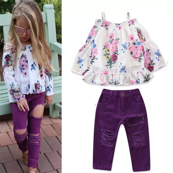 Stylish girls boutique outfits fashion childrens clothing kids off the shoulder t shirts floral tops ripped jeans purple baby clothes sets