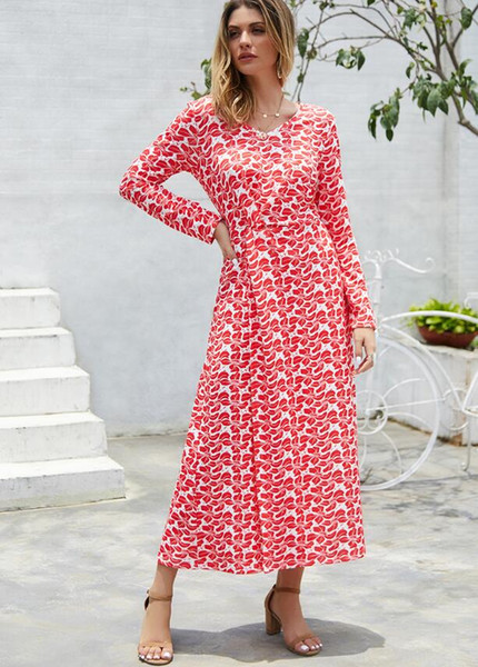 L'automne et l'hiver des femmes nouvelles 2019 nouvelles dames robes taille d'impression V-cou divisé robes à manches longues