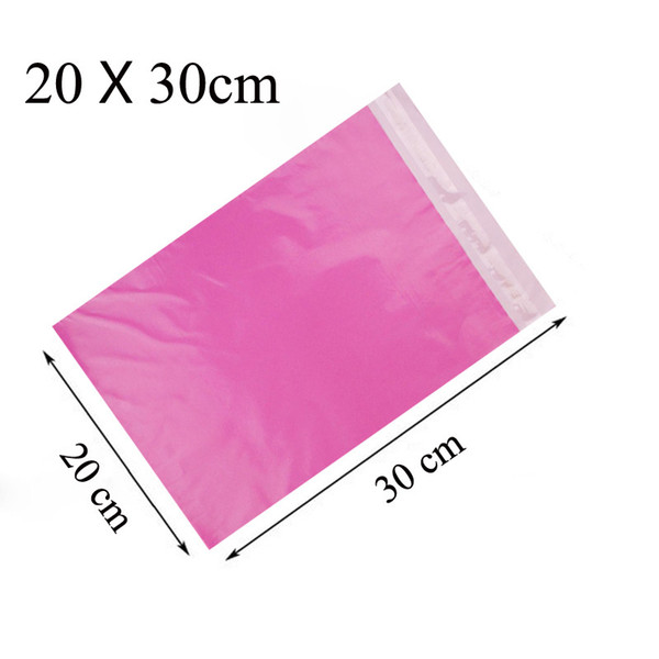 10pcs/Lot 20X30cm Pink Color Self-Adhesive Poly Mailer Pink Poly Mailing Post Envelope Pouches Plastic Express Courier Bags C18112801