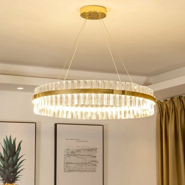Modern cry tal chandelier for living room gold led lu tre de cri tal home decoration hanging lighting fixture dhl