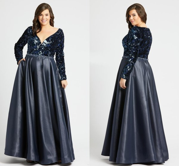 Unique Sequins Long Sleeve Plus Size Special Occasion Dresses 2020 With  Pockets Beaded Crystal Deep V Neck Dark Blue Evening Gowns Party Urban Plus  ...