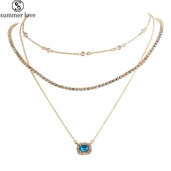 Women Fashion Silver Plated Blue Rhinestone Spider Charm Pendant for Necklace