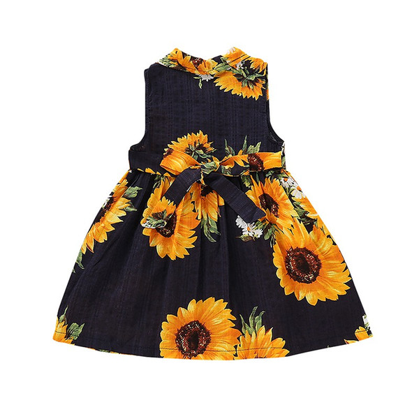 Summer baby girls dress Sunflower Sleeveless Print Dress cotton comfortable princess for 0-5 T