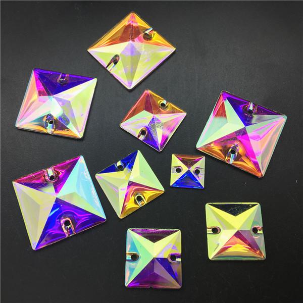 TopStone 10 16 22 mm Cristal AB carré Résine couture strass Flatback strass Coudre pierre pour le vêtement de bricolage Décoration