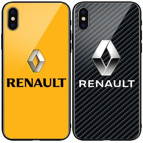 Fibre de Carbone Renault Marques de voitures Logo Verre Téléphone Case VW Couverture pour Iphone X Xs MAX XR 6s 7 8 Plus