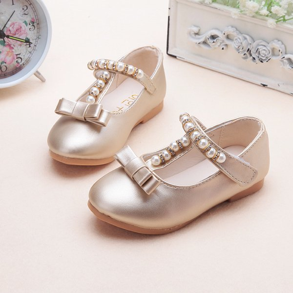 children shoes 2019 spring summer flat girls leather shoes beading fashion princess dance kids desing bow girls sandals