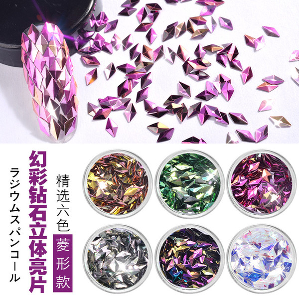 top popular Danceyi 6 Color Sets AB Color Nail Sequins Glitters Triangle Diamond Rhombus Flakes Paillette Manicure Nail Art Decorations ae039 2019